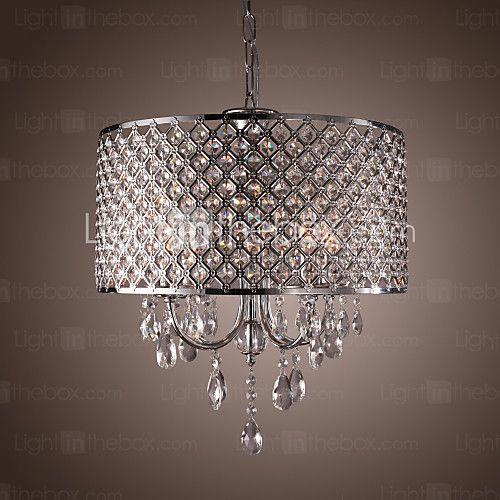 Drum Chandelier Crystal Modern 4 Lights - USD $179.99