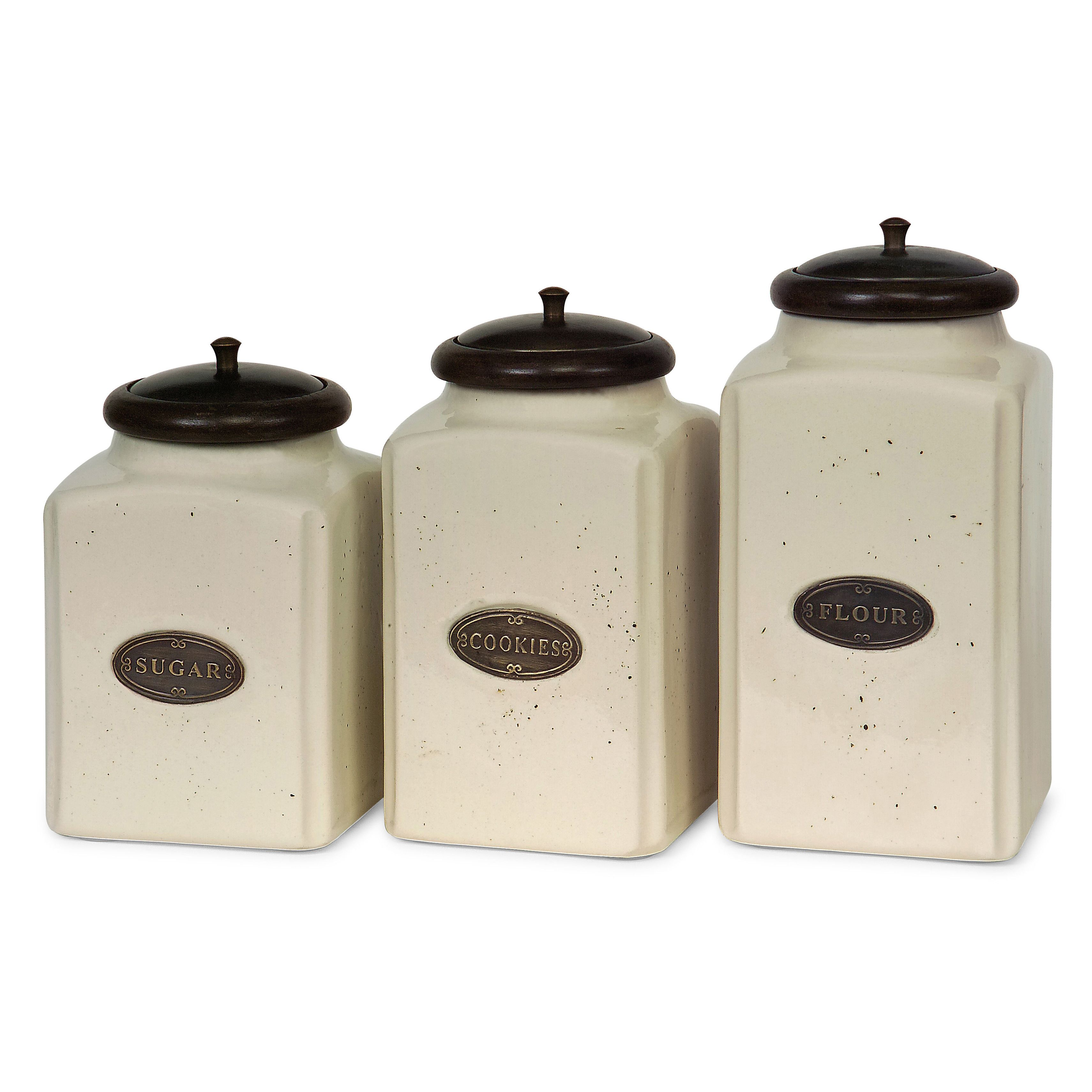 Ceramic & Copper Flour, Sugar and Coffee Canisters Perfect ...