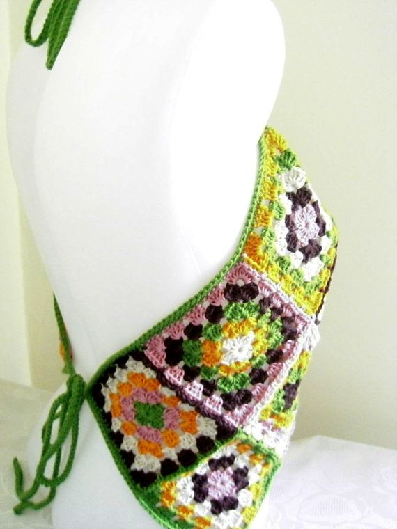 Inspiration: Handmade Granny Crocheted Halter - Multicolor Tank - for sale at Etsy