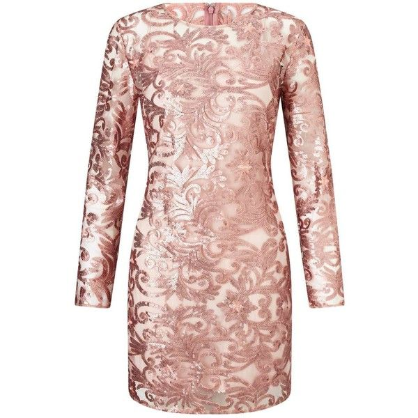 Miss Selfridge PREMIUM Rose Gold Sequin Mini Dress ($195) ❤ liked on Polyvore featuring dresses, pink, short dresses, pink dress, rose gold cocktail dress, pink sequined dresses and short sequin cocktail dresses