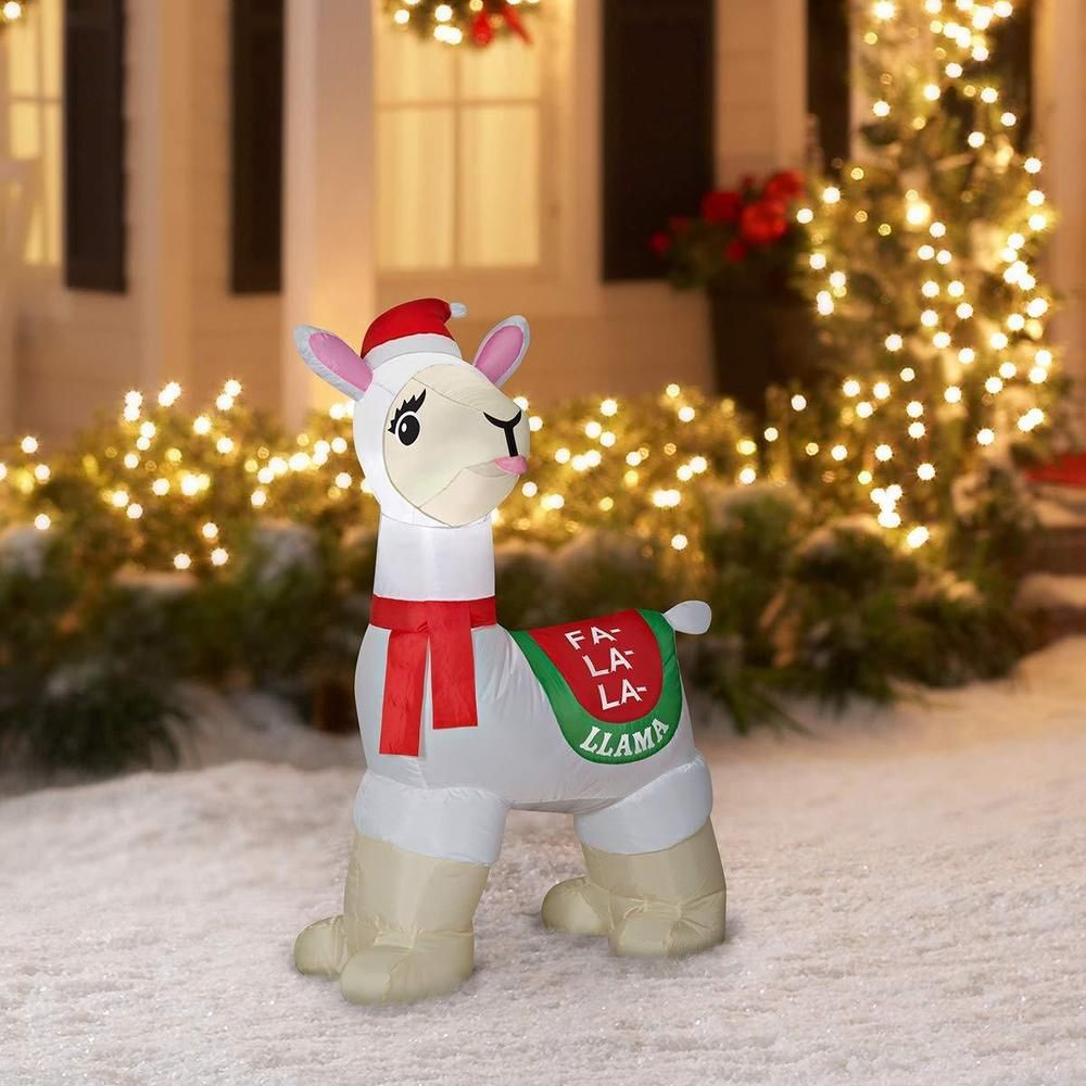 Llama Christmas Decorations.Christmas Fa La La Llama 3 5 Ft Lighted Airblown Inflatable