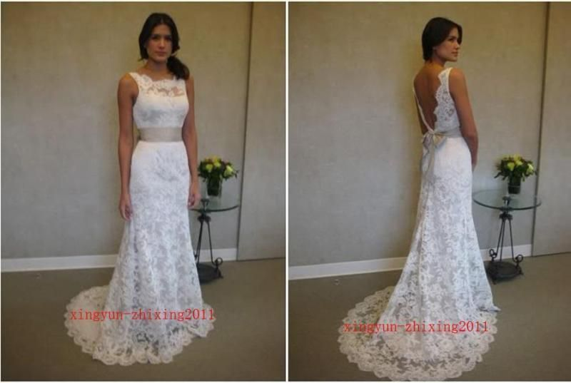 New White Lace Backless Belt Bow Straps Wedding Dress Hot Sale US Size 6 8 #Unbranded