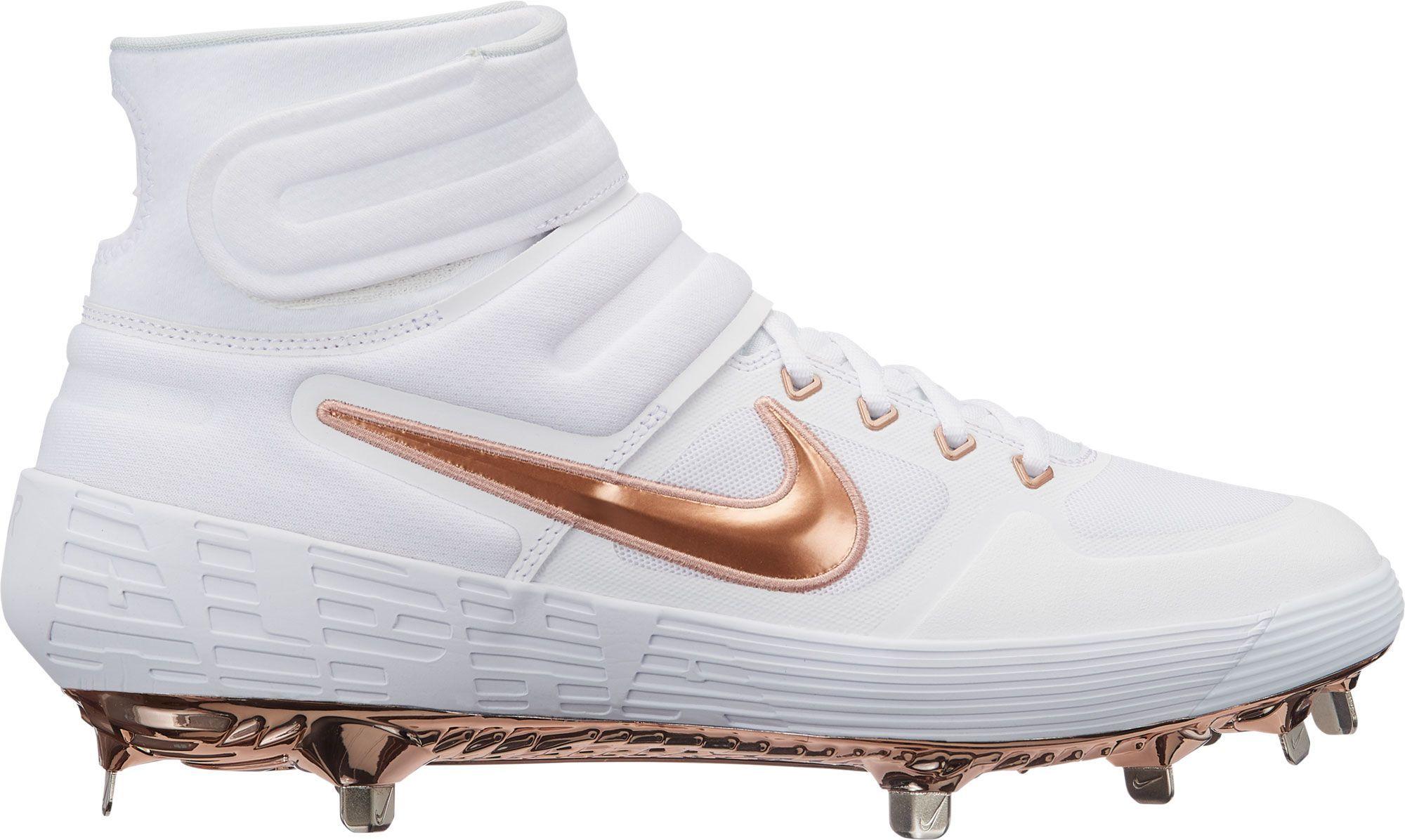 Nike Men S Alpha Huarache Elite 2 Mid Baseball Cleats White Baseball Cleats Nike Men Cleats