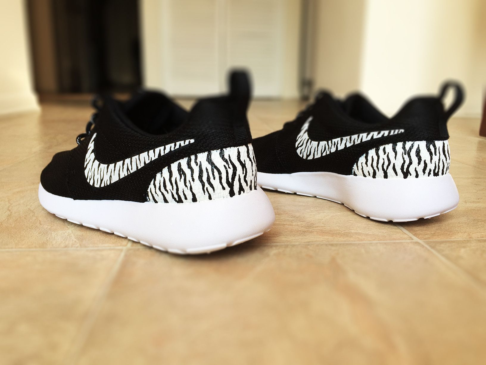 Custom Nike Roshe Zebra Print design