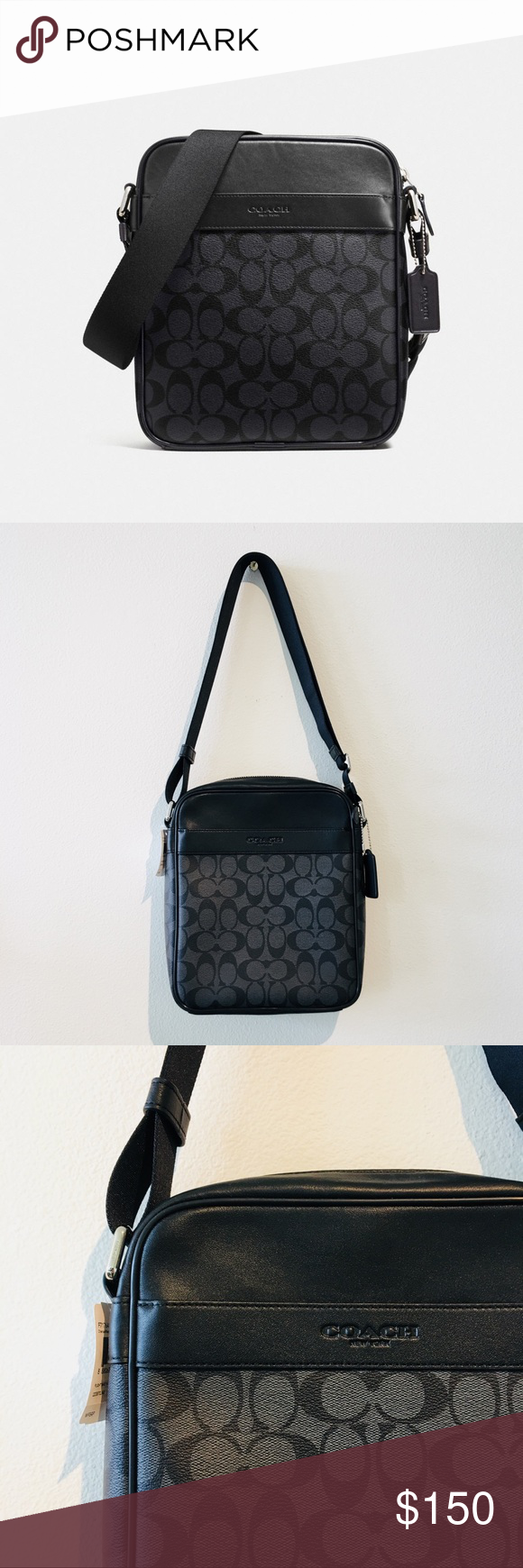 AUTHENTIC COACH Charcoal Black messenger bag NWT. No flaws Authentic Coach  messenger bag. I bought this for traveling but I have never used it because  it ... 0fc8bcf3dce37