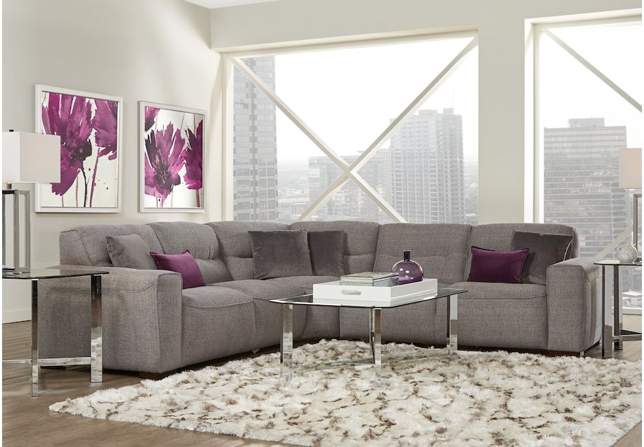 Awe Inspiring Ellis Graphite 3 Pc Sectional Upholstered Living Rooms Gmtry Best Dining Table And Chair Ideas Images Gmtryco