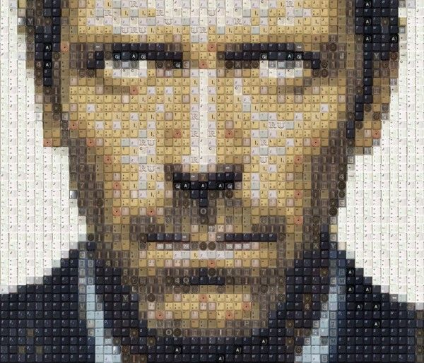 Dr house portrait made of recycled keyboards (hugh laurie)