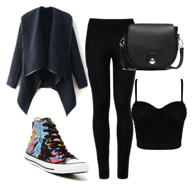 """""""Black color is cute"""" by veselaviktori ❤ liked on Polyvore featuring Wolford, Converse and rag & bone"""