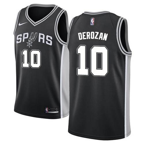 b51f8e4c6 Nike San Antonio Spurs  10 DeMar DeRozan Black NBA Swingman Icon Edition  Jersey