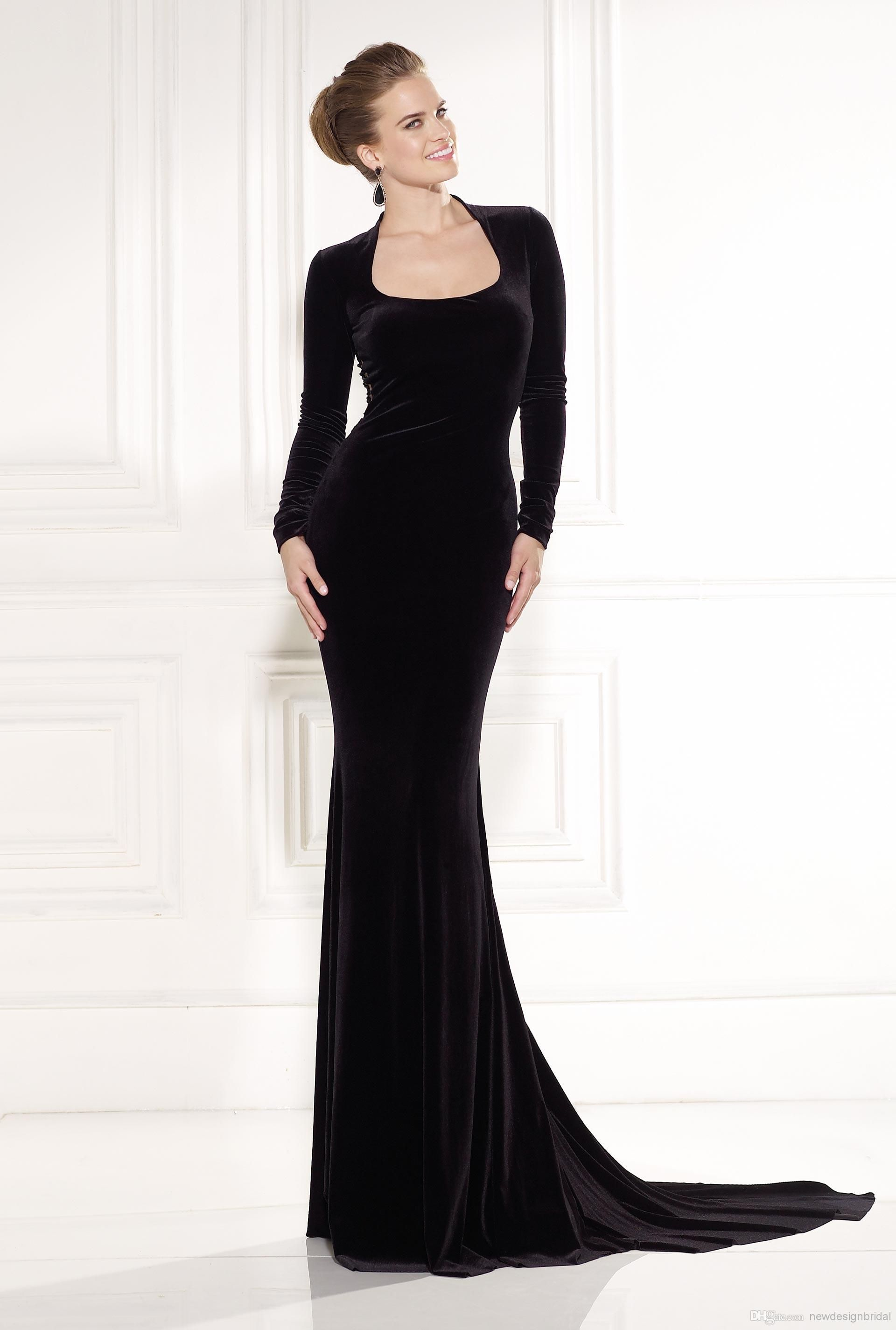 New arrival black tarik ediz prom dress long sleeves velvet