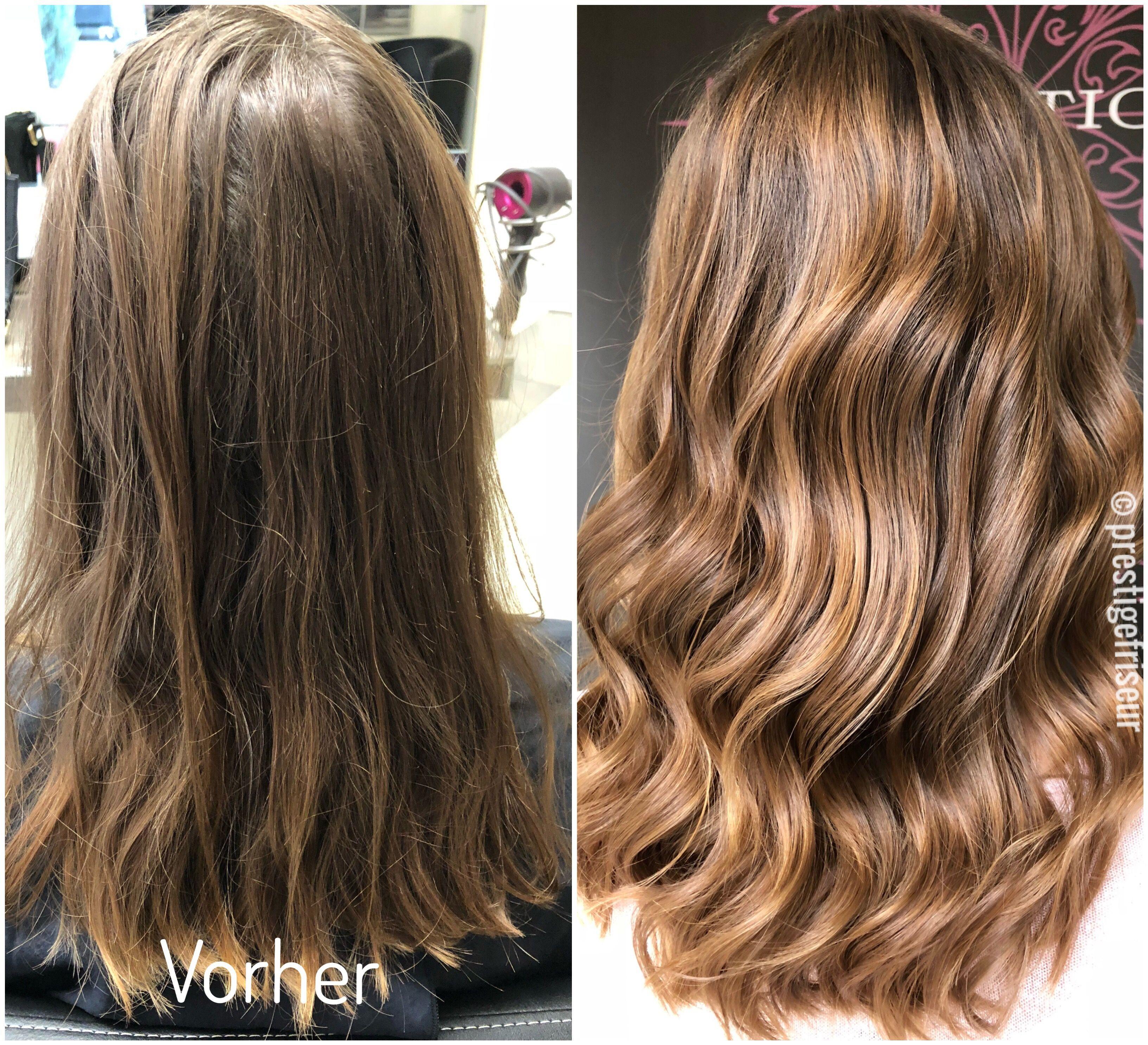 Balayage Sunlights Ombre Lange Haare Wellen Braun - Dein Premium