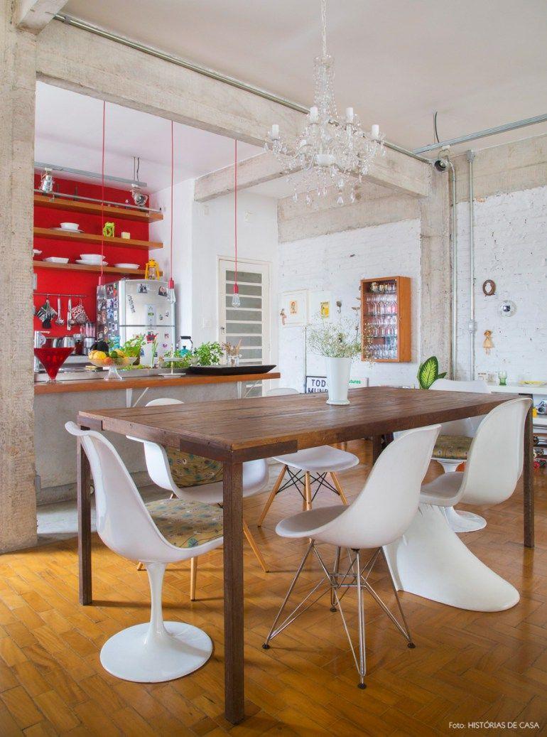 Um Ap Sem Barreiras Parede Vermelha Decora O Cozinha Parede E  -> Lustre Para Sala De Jantar Vermelho