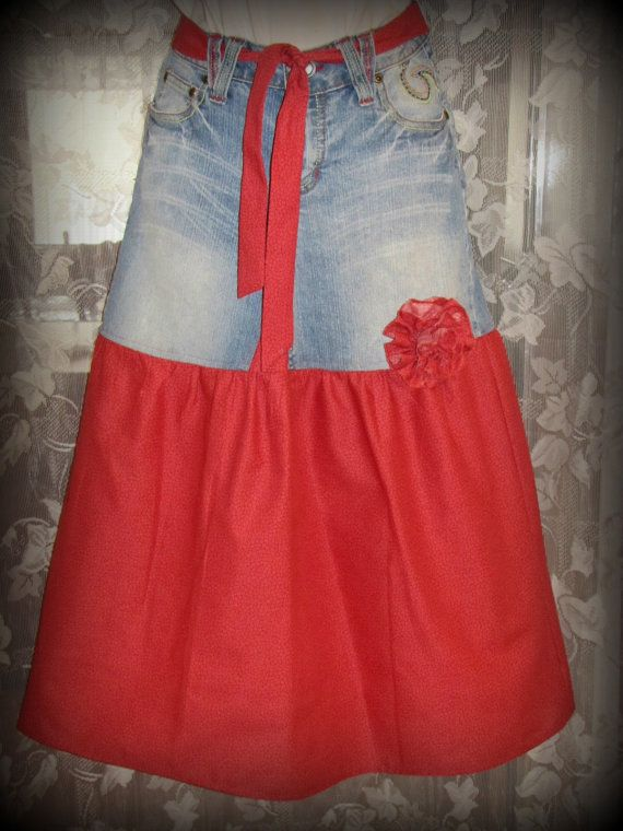 Red & Denim Upcycled Jean Skirt with Belt and by TwoCottageChicks, $19.00