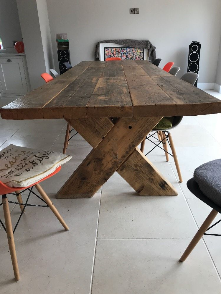 Attrayant Demolition Style Cross Brace Dining Table