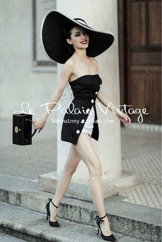 9ab5f92d177c Strapless French Riviera Retro Romper in Elegant Black   White ...