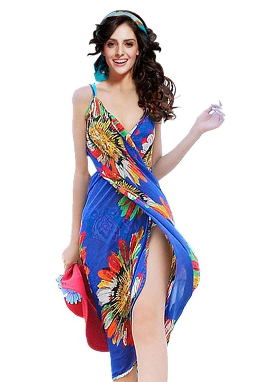 d5ee83cf61a6b Dealkiller Beach Coverup Women s Spaghetti Strap Deep V-neck Backless Sarong  at Amazon Women s Clothing store  Fashion Swimwear Cover Ups