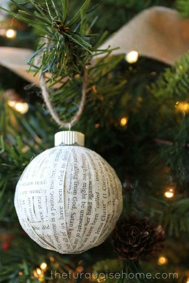 Paper-Covered Ornaments   36 Adorable DIY Ornaments You Can Make With The Kids