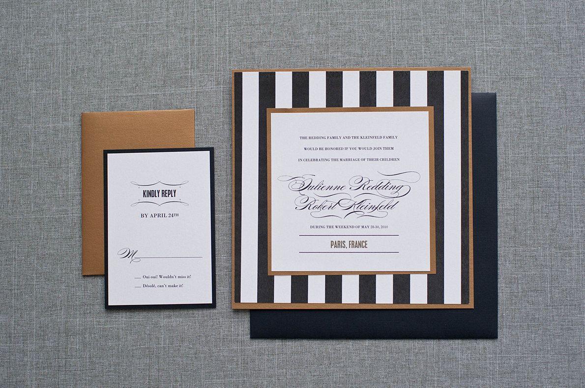 Wedding Ceremony Invitation, Black and Gold Invitation, Gold Wedding ...