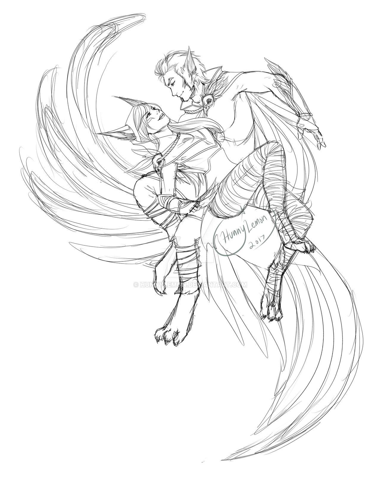 Rakan And Xayah Sketch By Hunnylemon Xayah And Rakan Lol League Of Legends League Of Legends Characters