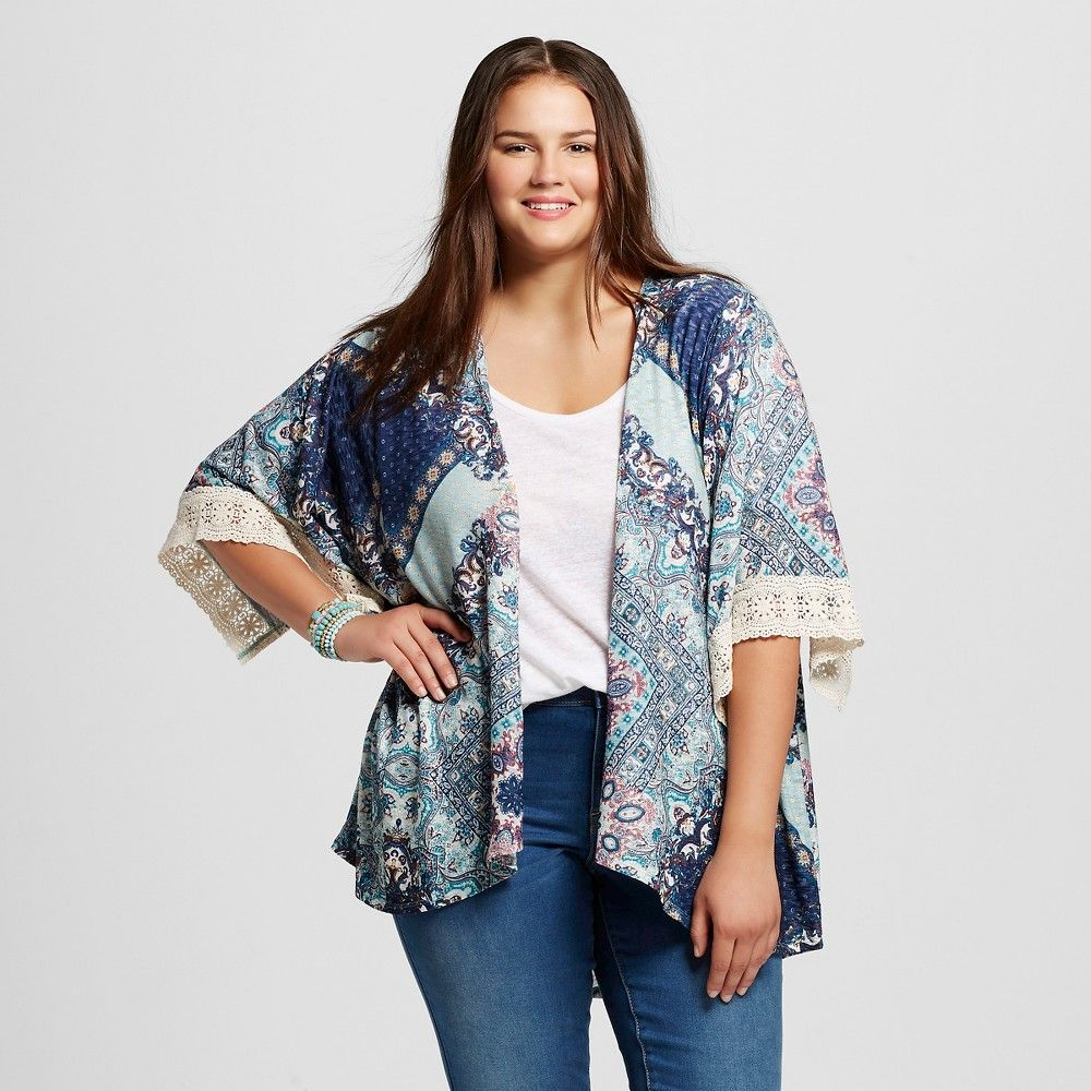 Women's Plus Size Kimono Cardigan with Hi-Low Hem Blue 2X - Born ...