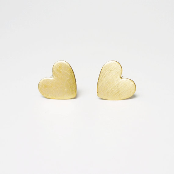 Pretty Tiny Gold Heart Stud Earrings Bridesmaid Gift Minimal Jewelry Under 10 On Etsy 9 99