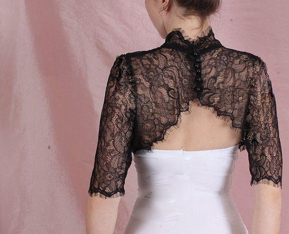 9e6dcac4597 Black  ivory white  wedding lace bolero  bridal cover up  shrug ...