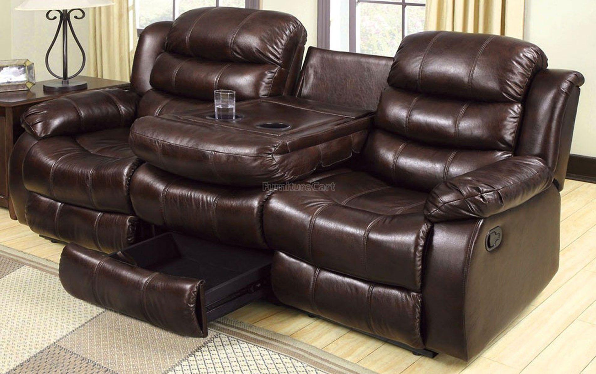 Berkshire Reclining Sofa W Flip Down Table Leather Reclining