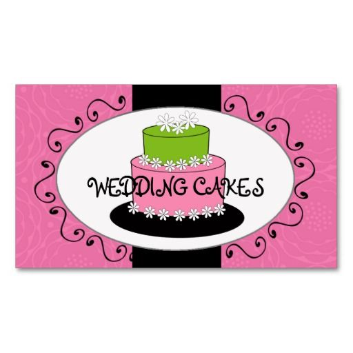 Pink green wedding cake bakery business cards bakery business pink green wedding cake bakery business cards reheart Choice Image