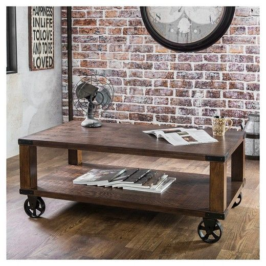 Comfortingly Warm With A Dark Oak Finish The Furniture Of America - Target franklin coffee table