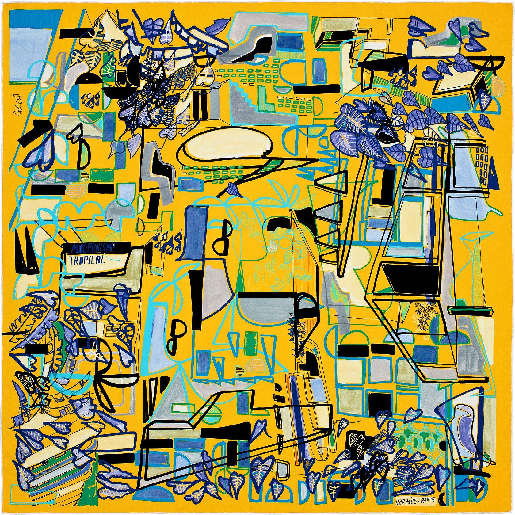 Carré 90 x 90 cm Hermès   Modernisme tropical   Carré de soie en ... 58c52d5b4b0