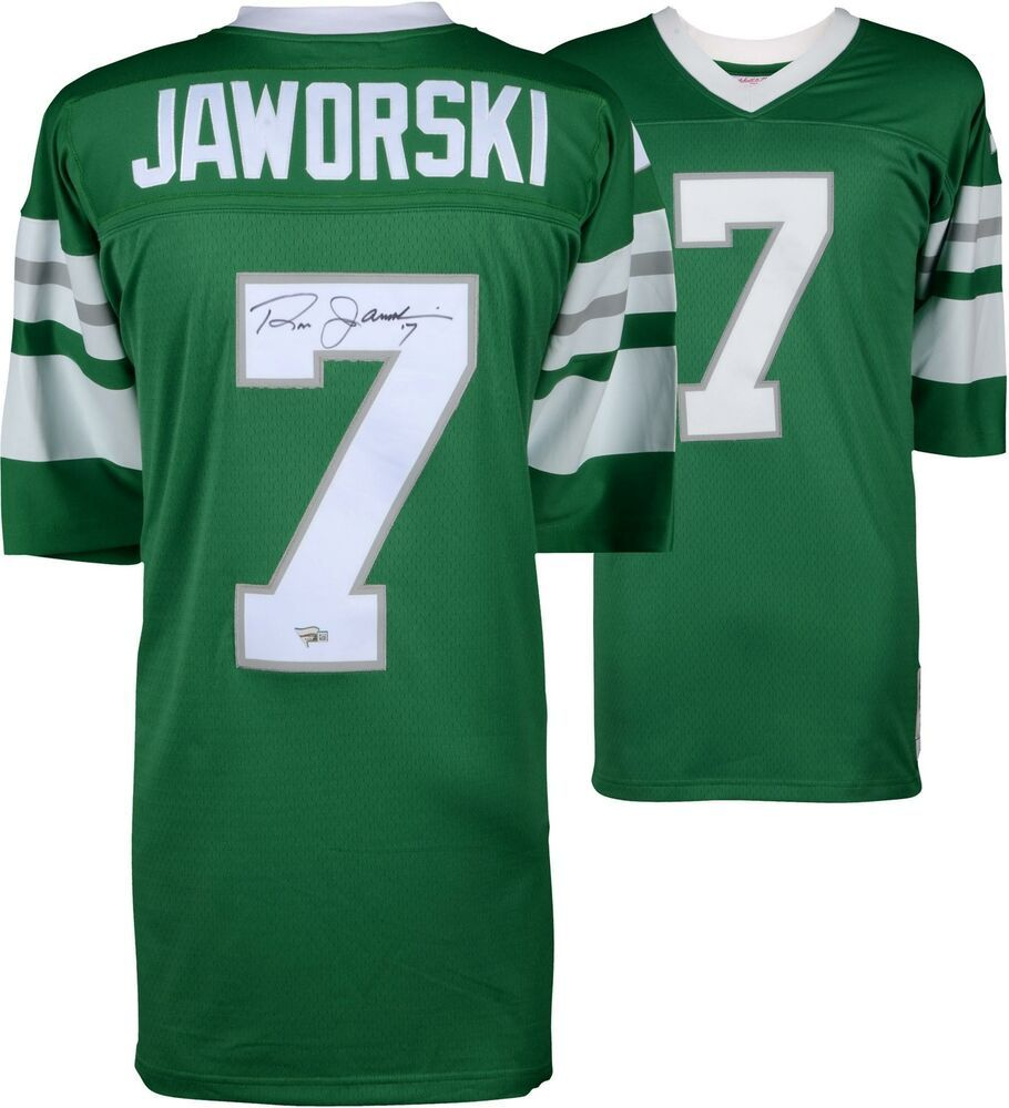 low priced 6f753 56c51 Ron Jaworski Philadelphia Eagles Signed Green Mitchell ...