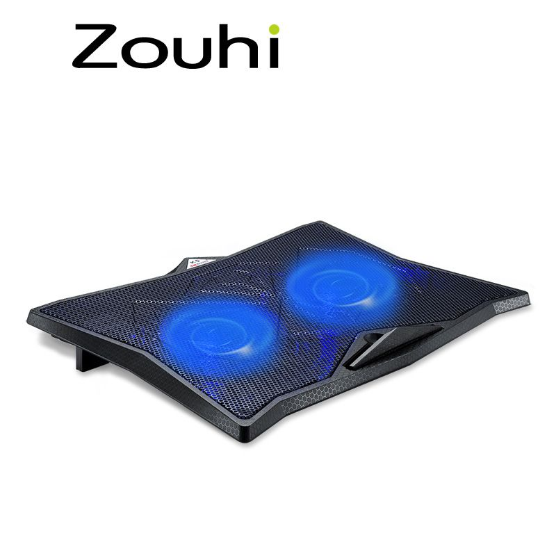 Laptop Cooler With 2 Fans 2 Usb Ports Blue Back Light And Notebook Cooling Pad For 14 15 15 6 17 Inch Computer Stand Adj Laptop Cooler Computer Stand Blue Back