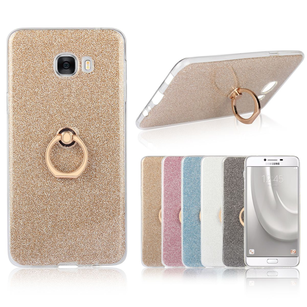 C5/C7 Ring Frame Case For Samsung Galaxy C5 C5000 / C7 C7000 Glitter Stickers Silicone TPU Back Cover