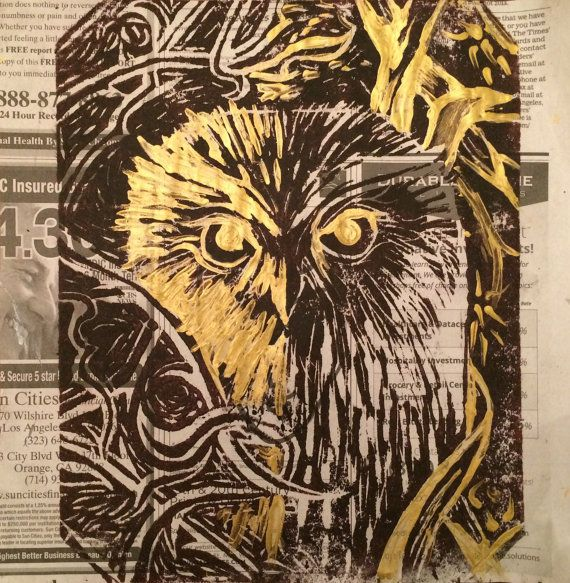 Hand Stamped Owl Art gold metallic acrylic by DoodleFancy on Etsy