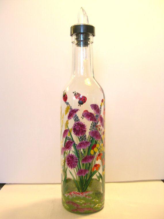 Hand painted wild flower glass pour soap bottle oil for Flowers in glass bottles