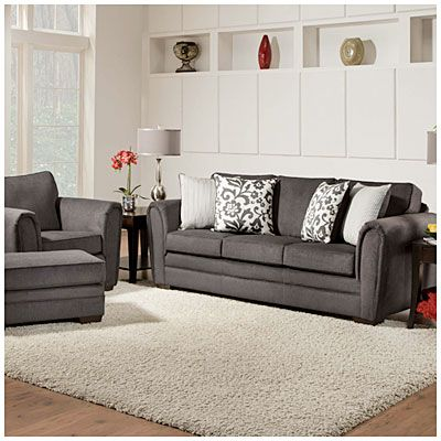 Best Simmons® Flannel Charcoal Living Room Collection At Big 400 x 300