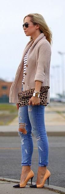 Ripped jeans & cardigan + orange heels + stripes + leopard