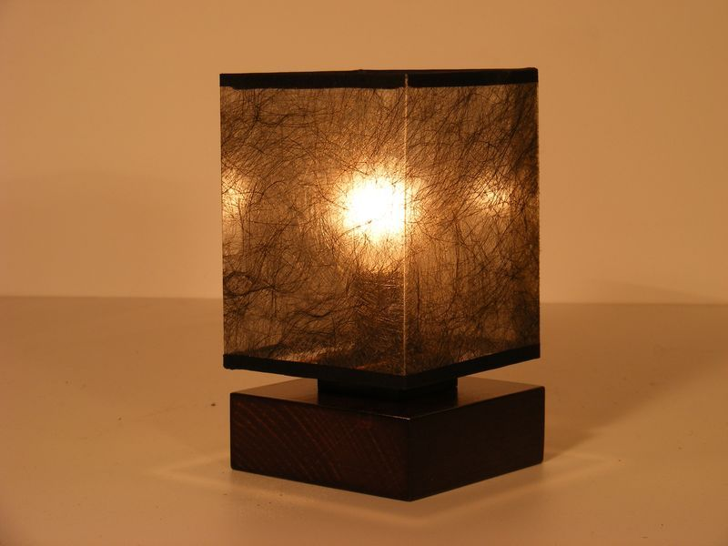 basari table lamp one light square wood wenge brown base with dark fabric lamp shade