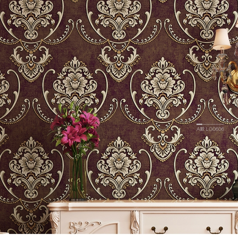 Non woven wallpaper damask european vintage wallpaper wall covering paper for backdrop textured wall papers home decor