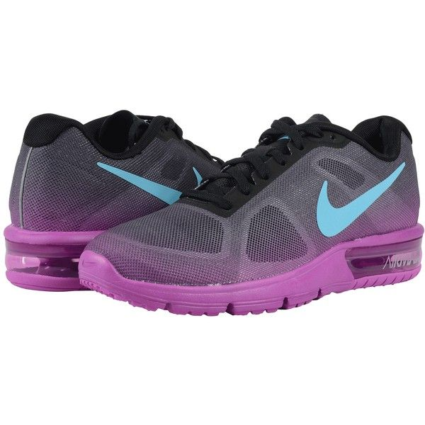 new product c2683 fe13c Nike Air Max Sequent (Black Hyper Violet Dark Grey Gamma Blue) Women s...  ( 80) ❤ liked on Polyvore featuring shoes, athletic shoes, purple, purple  running ...