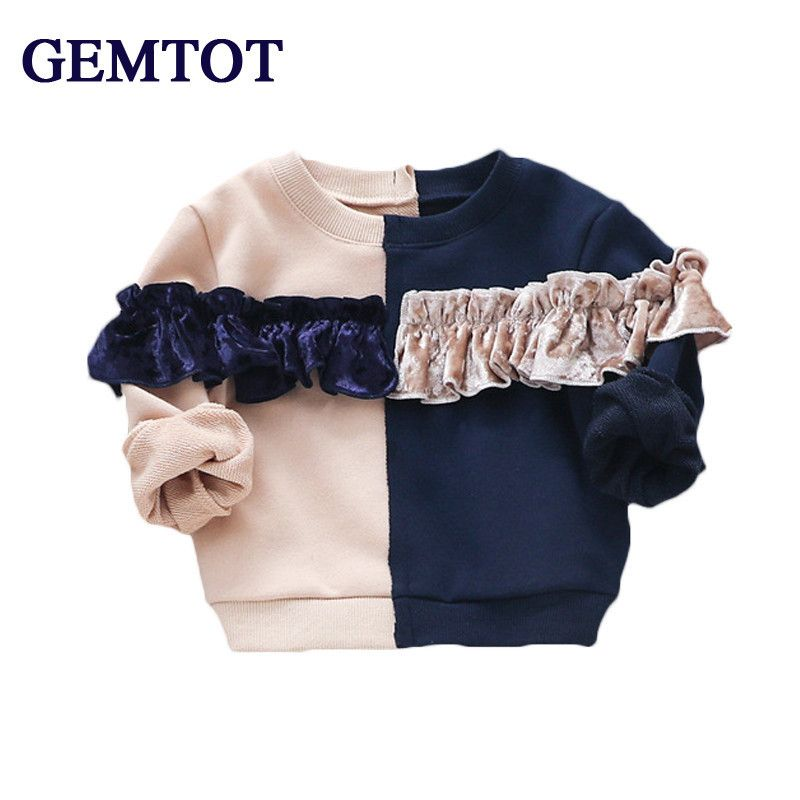 ee61b1a5c GEMTOT Girl baby clothes 2017 autumn new fashion cotton t-shirt Splicing  upper outer garment for 0-3 Yrs newborn and little girl //Price: $20.76 // # kids