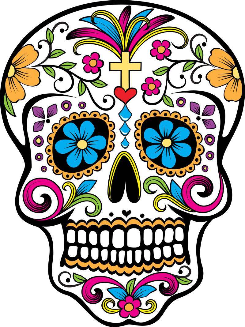 It is a photo of Revered Black And White Sugar Skull Drawing