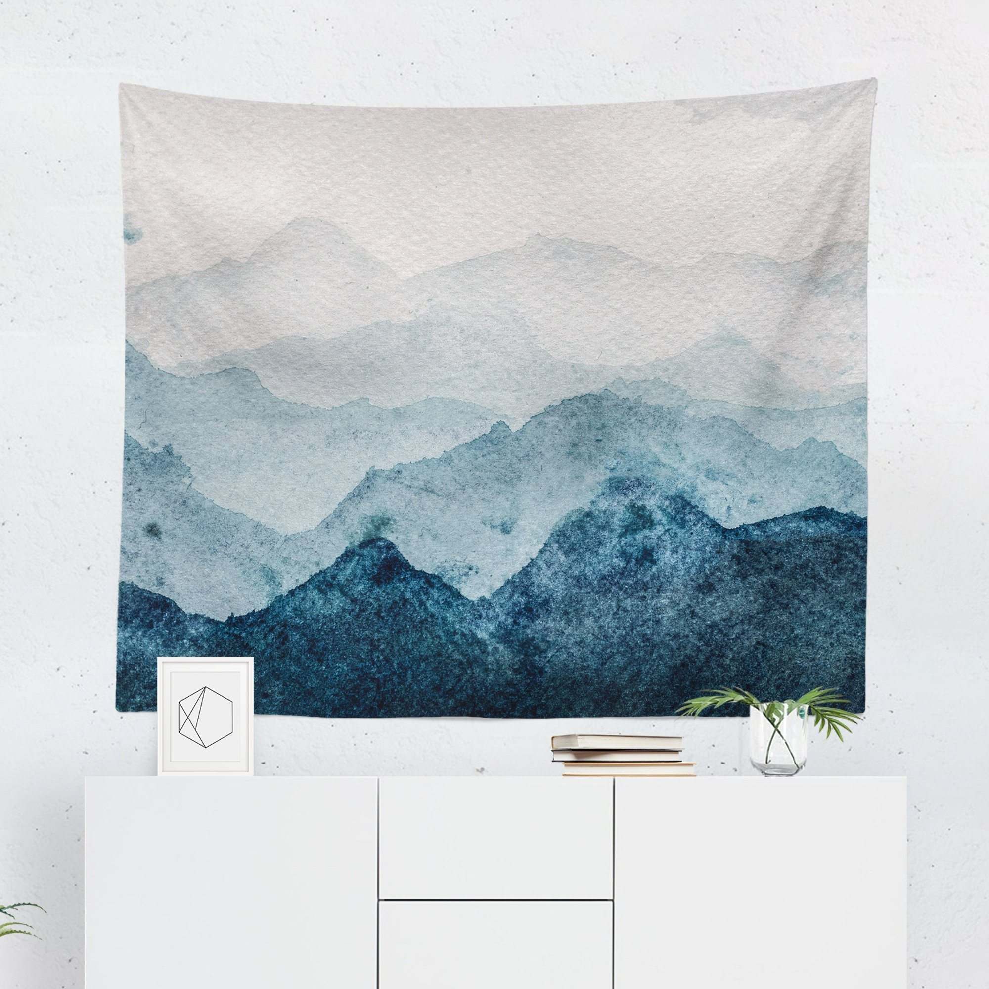 Watercolor Mountain Tapestry Watercolor Walls Tapestry