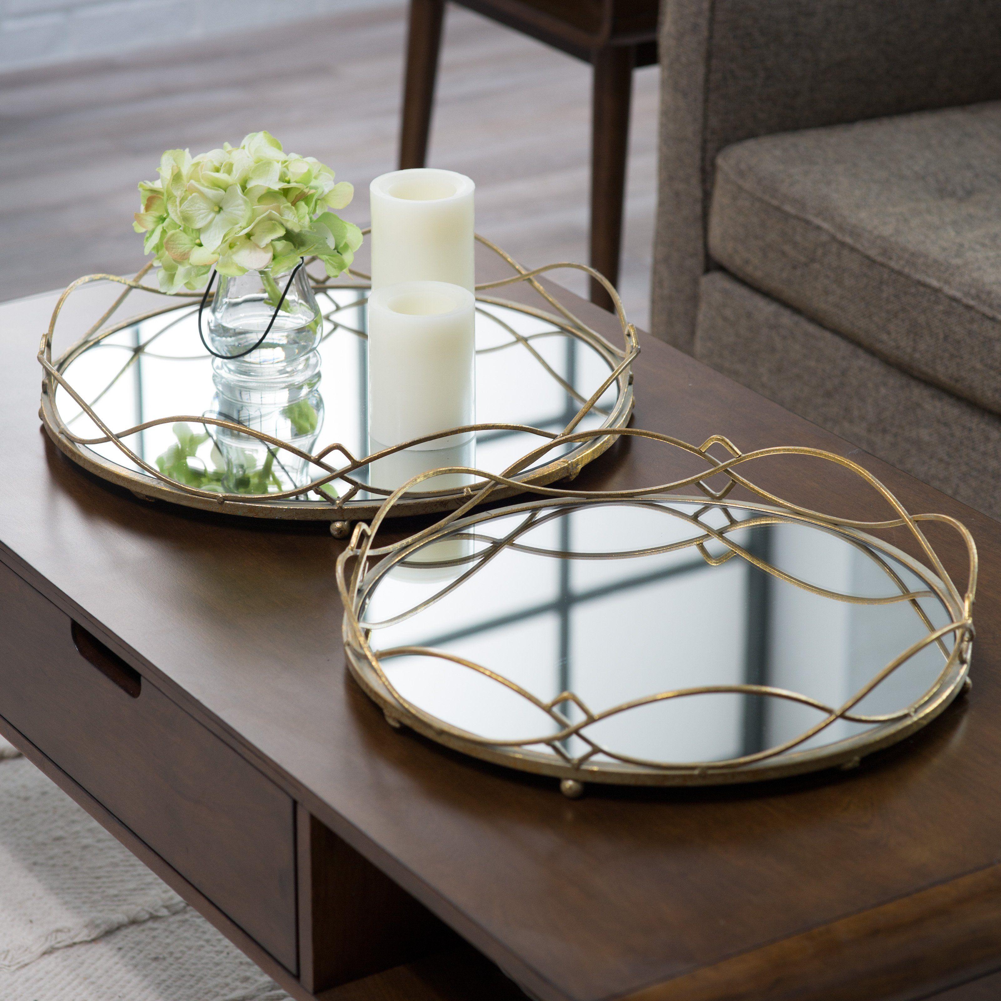Rockdale Mirrored Tray Set Of 2 Www Hayneedle Com Mirror Tray Mirror Tray Decor Serving Tray Decor
