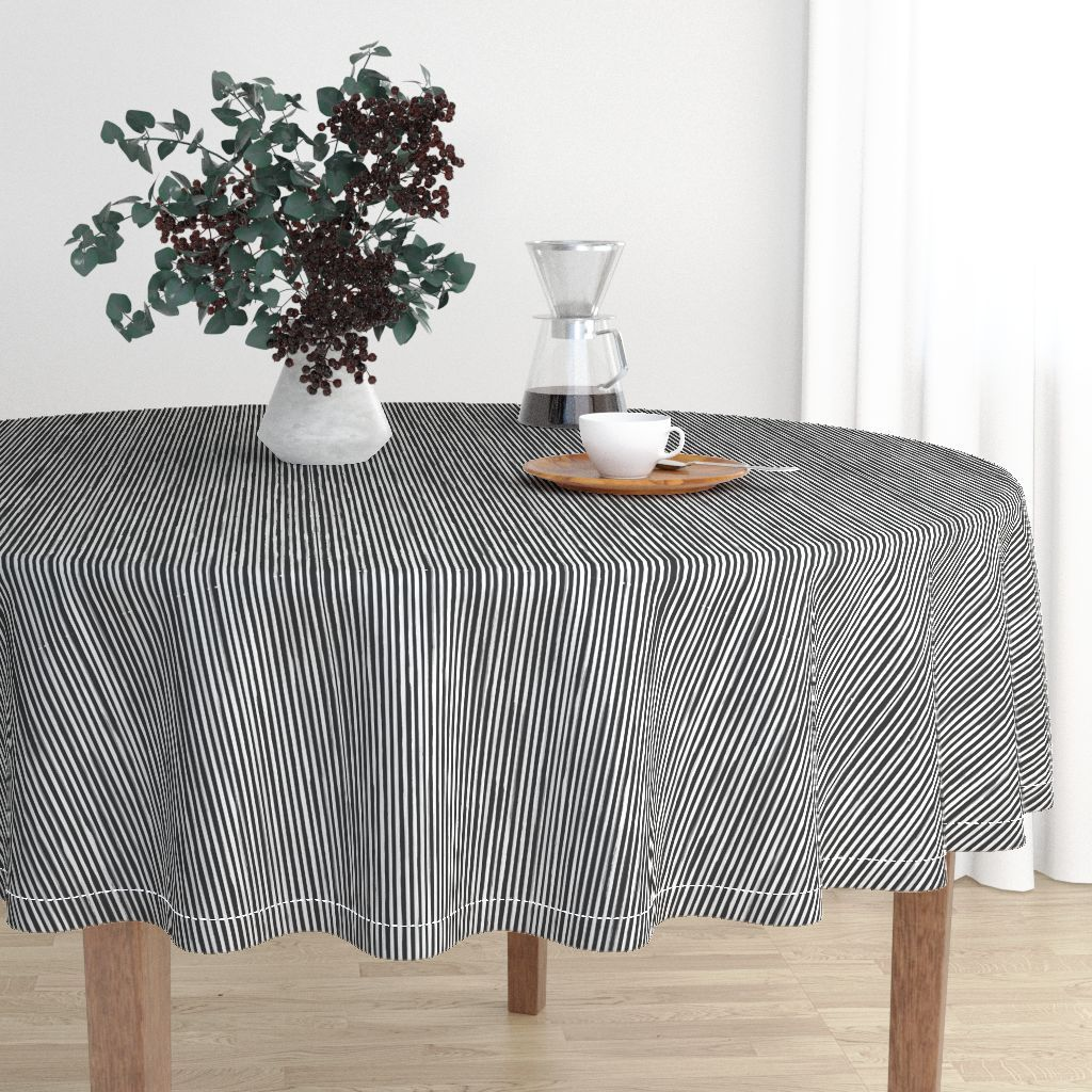 Colorful Fabrics Digitally Printed By Spoonflower Skinny Stroke Vertical Off White On Black Modern Tablecloths Round Tablecloth Table Cloth