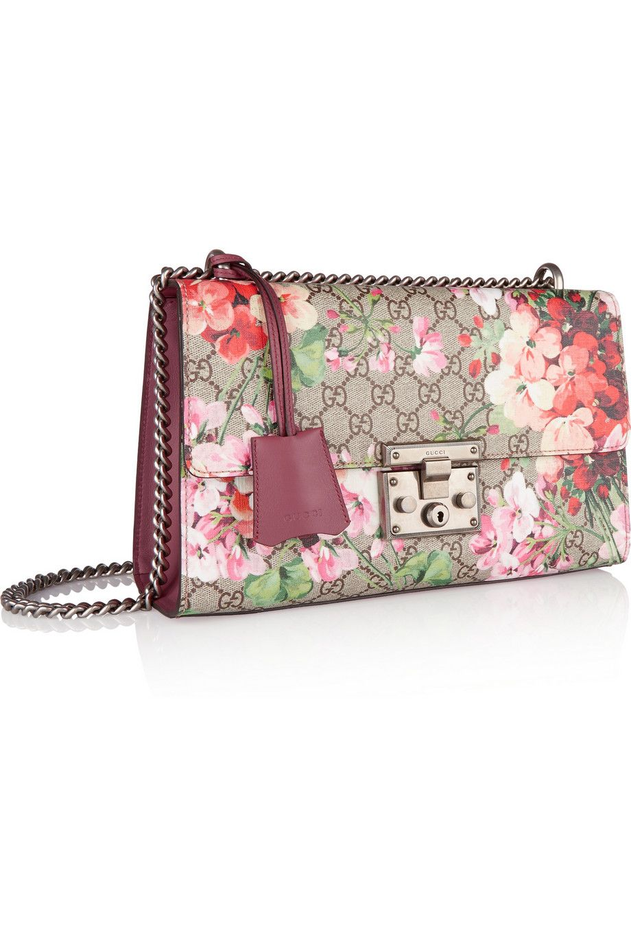 Gucci | Linea C large coated canvas and leather shoulder bag | NET-A-PORTER.COM