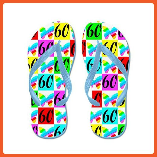 c9f7506f061a CafePress - 60TH BUTTERFLY - Flip Flops