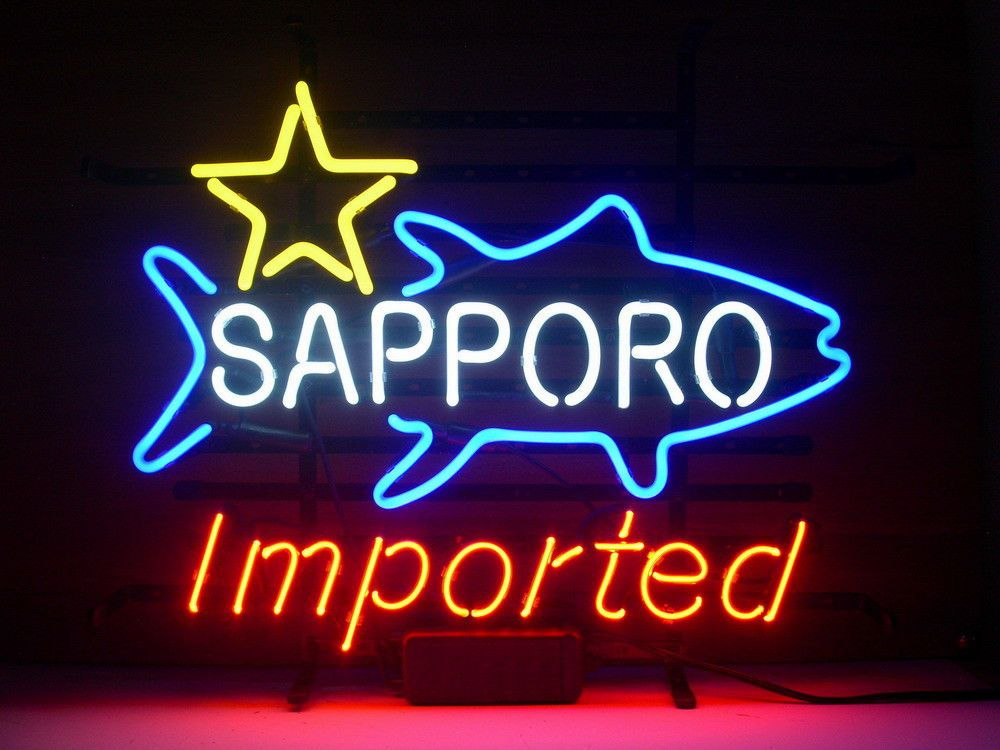 NEW SAPPORO IMPORTED REAL GLASS NEON LIGHT BEER LAGER BAR