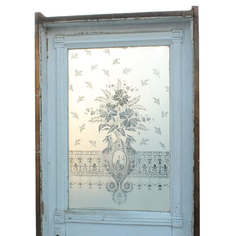 Antique 19th Century 32 Door With Figural Etched Glass Heron Birds With Daffodils Ned93 For Sale Antiques Com Etched Glass Door Glass Etching Antiques