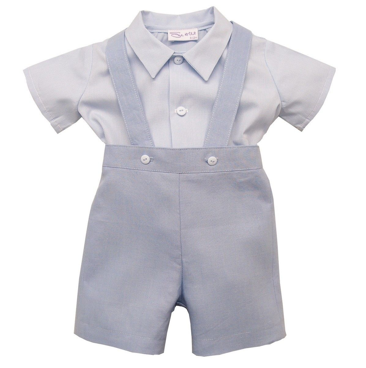 Baby Boy Christening Outfit Linen Suspenders Shorts Romper Bowtie Formal Suit